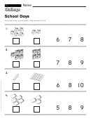 School Days - Math Worksheet With Answers