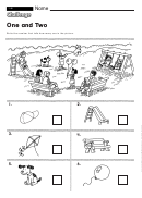 One And Two - Math Worksheet With Answers