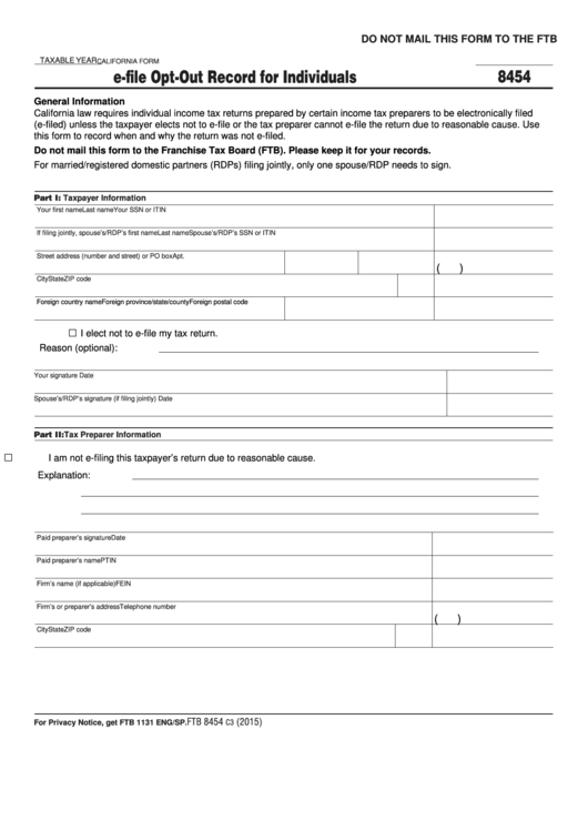 Fillable California Form 8454 - E-File Opt-Out Record For Individuals Printable pdf