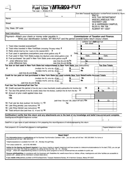 Form Mt 903 Fut Fuel Use Tax Return Printable Pdf Download