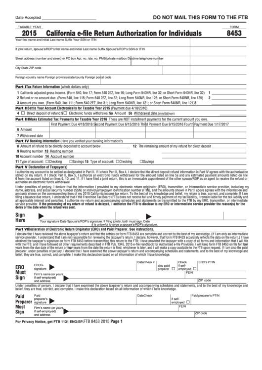 Form 8453 - California E-File Return Authorization For Individuals - 2015 Printable pdf