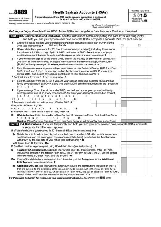 Form 8889 - Health Savings Accounts (hsas) - 2015