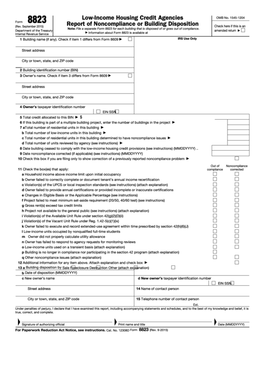 Fillable Form 8823 - Low-Income Housing Credit Agencies Report Of Noncompliance Or Building Disposition Printable pdf