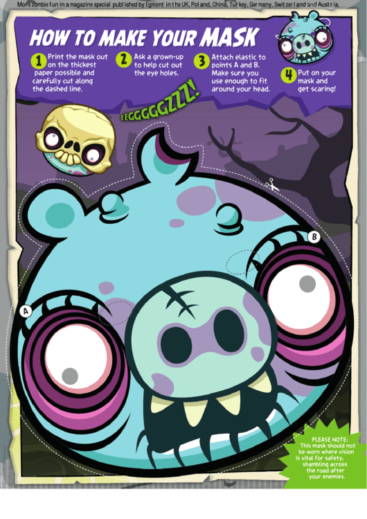 Zombie Angry Birds - Pig Mask Template printable pdf download