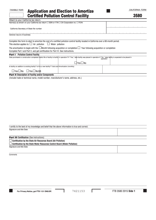 Form 3580 - California Application And Election To Amortize Certified Pollution Control Facility Printable pdf