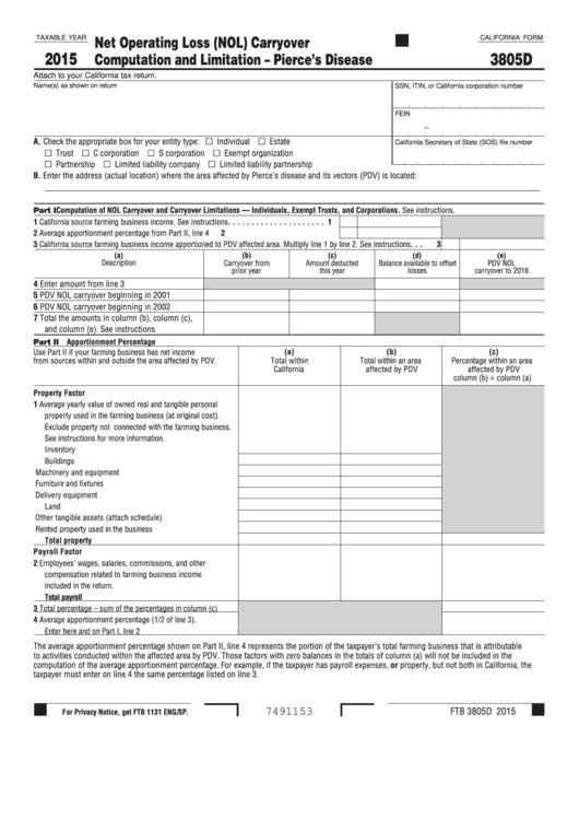 Form 3805d - California Net Operating Loss (Nol) Carryover Computation And Limitation Pierce