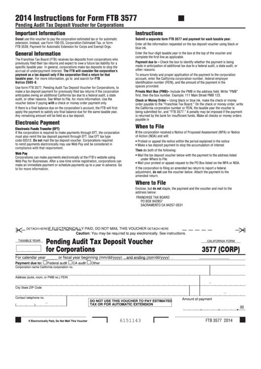 Form 3577 (Corp) - California Pending Audit Tax Deposit Voucher For Corporations Printable pdf