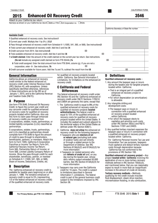Fillable Form 3546 - California Enhanced Oil Recovery Credit - 2015 Printable pdf