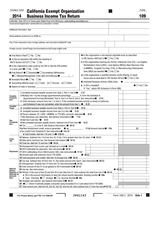 Fillable Form 109 - California Exempt Organization Business Income Tax Return - 2014 Printable pdf