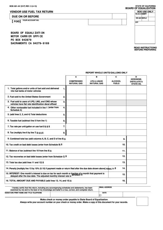 Fillable Form Boe-501-Av - Vendor Use Fuel Tax Return Printable pdf