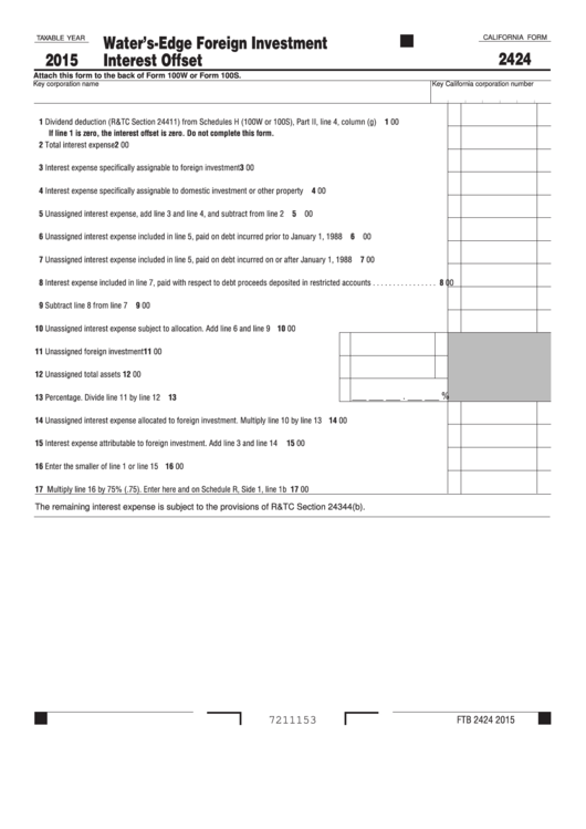 Fillable Form 2424 - California Water