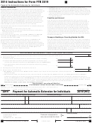 Form 3519 (pit) - California Payment For Automatic Extension For Individuals - 2014