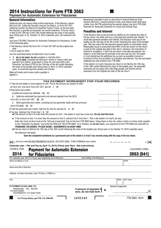 Form 3563 (541) - California Payment For Automatic Extension For Fiduciaries - 2014 Printable pdf