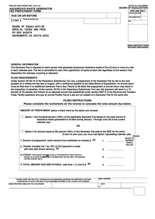 Fillable Form Boe-501-Hgp - Hazardous Waste Generator Fee Prepayment Form Printable pdf