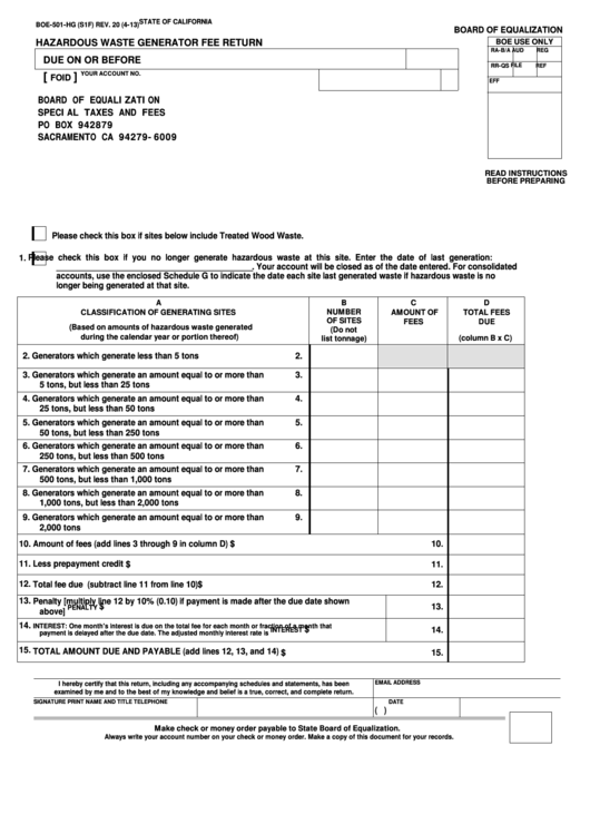 Fillable Form Boe-501-Hg - Hazardous Waste Generator Fee Return Printable pdf