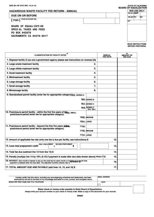 Fillable Form Boe-501-Hf - Hazardous Waste Facility Fee Return - Annual Printable pdf