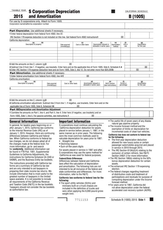 Fillable Schedule B (100s) - California S Corporation Depreciation And Amortization - 2015 Printable pdf