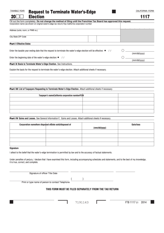 Fillable Form 1117 - California Request To Terminate Water