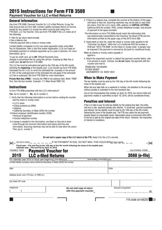 Fillable Form 3588 (E-File) - Payment Voucher For Llc E-Filed Returns - 2015 Printable pdf