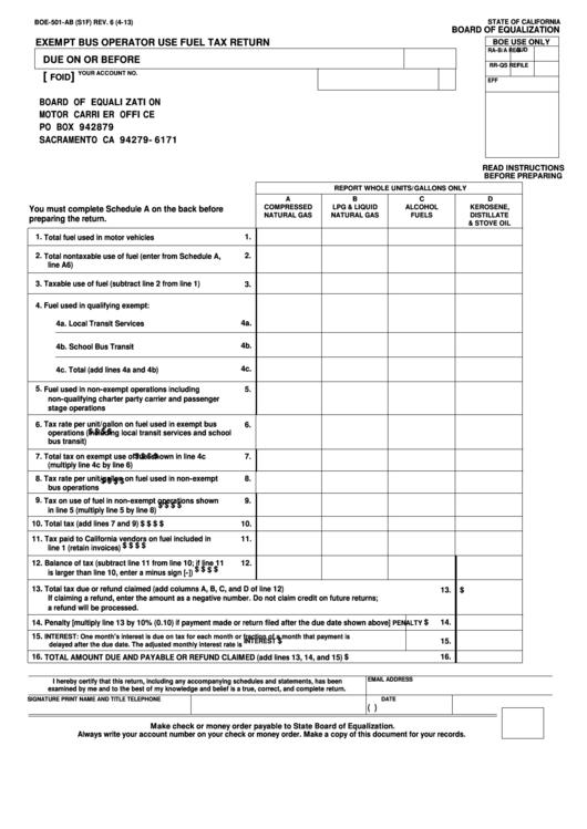 Fillable Form Boe-501-Ab - Exempt Bus Operator Use Fuel Tax Return Printable pdf