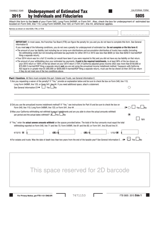 California Form 5805 - Underpayment Of Estimated Tax By Individuals And Fiduciaries - 2015 Printable pdf