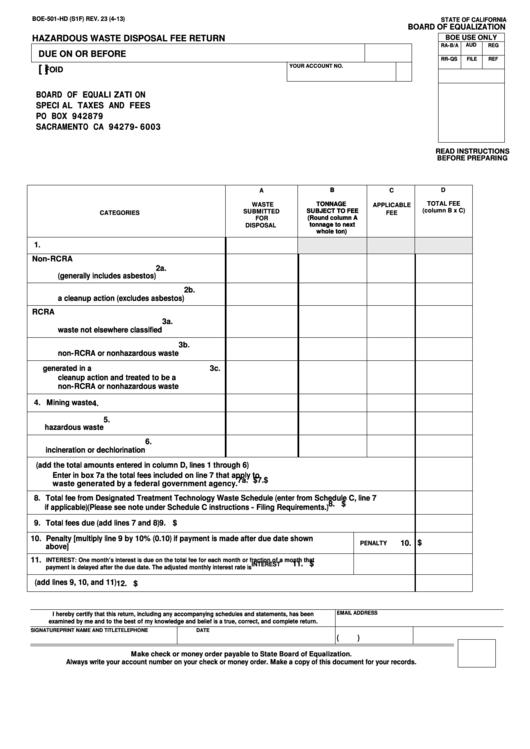 Fillable Form Boe-501-Hd - Hazardous Waste Disposal Fee Return Printable pdf
