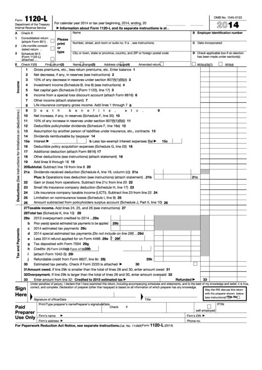 Fillable Form 1120-L - U.s. Life Insurance Company Income Tax Return - 2014 Printable pdf
