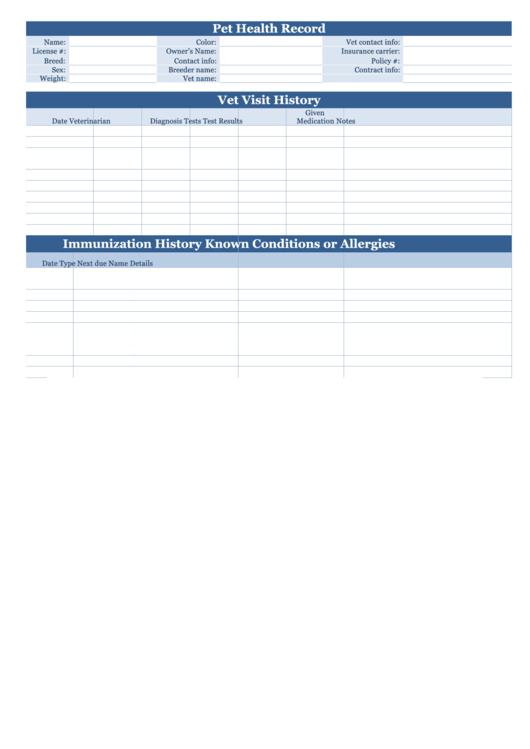 Pet health record form printable pdf download for Pet health record template