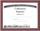 Coloratura Soprano Vocal Music Certificate