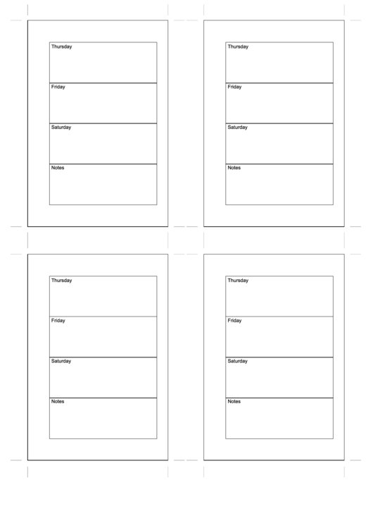 Daily Planner Thu To Sat With Notes - Four Pieces Printable pdf