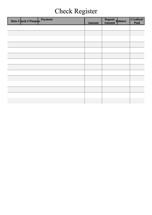 Check Register Template - Black And White Printable pdf