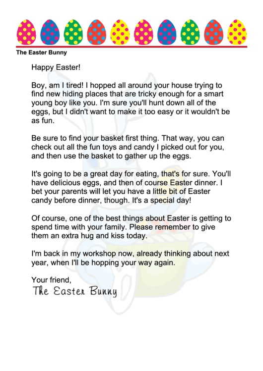 Easter Bunny Letter Template - Boy
