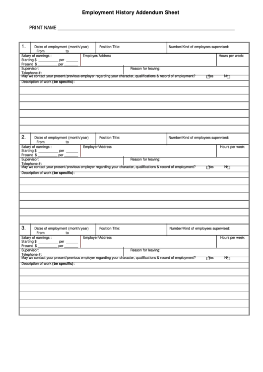 employment history forms templates