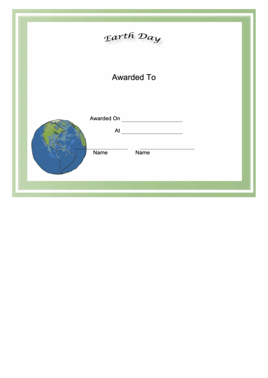 Earth Day Holiday Certificate