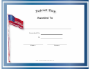 Patriot Day Holiday Certificate