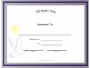 All Saints Day Holiday Certificate