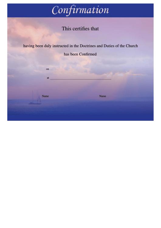 Confirmation Certificates Templates - Sky