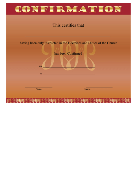 Confirmation Certificates Templates - Red