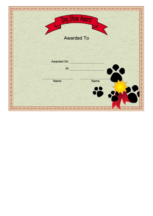 dog show certificate printable pdf download