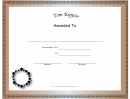 Yom Kippur Holiday Certificate