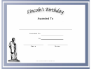 Lincolns Birthday Holiday Certificate