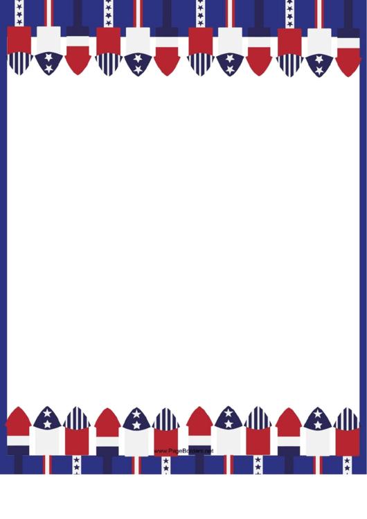 Stars And Stripes Page Border Printable pdf