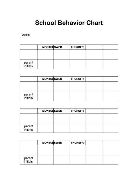 Behavior Chart School Printable pdf