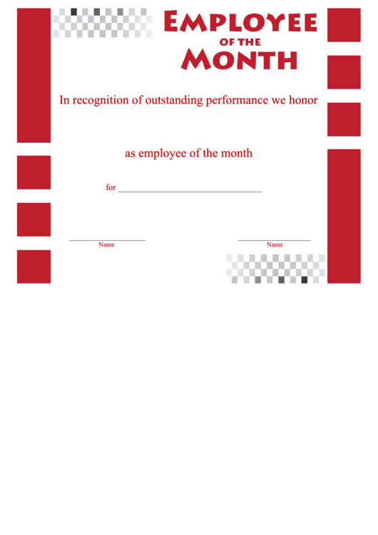 Employee Of The Month Certificate Template Printable Pdf Download