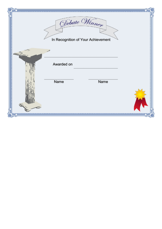 Debate Winner Certificate