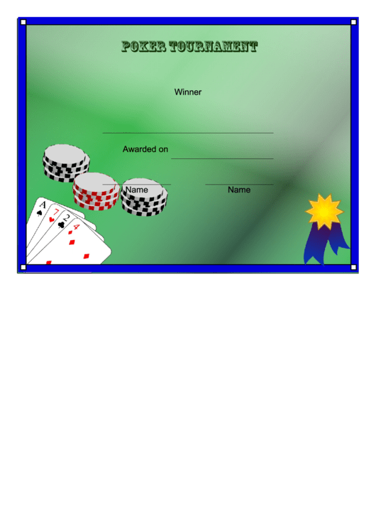 Poker Tournament Winner Certificate Template