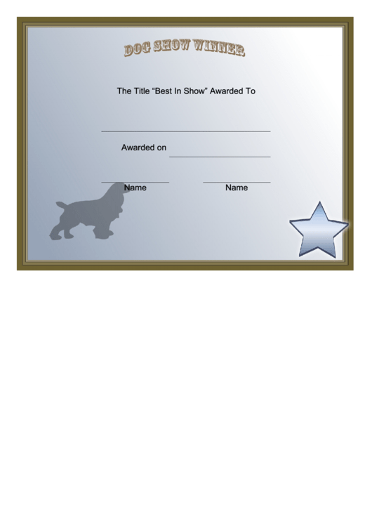 Dog Show Winner Certificate