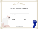 Cat Show Winner Certificate