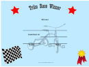Tricycle Race Winner Certificate
