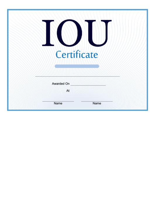 Iou Certificate printable pdf download